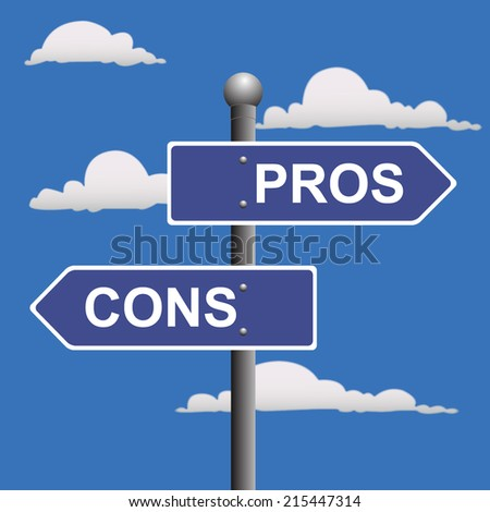 Pros, cons, street, signs, comparing, options - stock vector