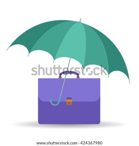 Protect and insurance business symbol. Vector flat illustration of umbrella and business case. Assurance infographic design element for web, internet, print, presentation, brochure, social networks. - stock vector