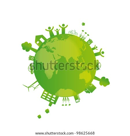 Protect the Earth: environment symbols on clean earth - stock vector