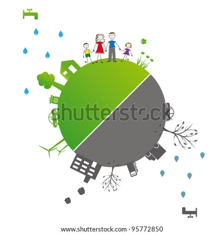 Protect the Earth: environment symbols on clean or dirty earth - stock vector