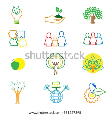 Protect the environment illustration. Set of logo - ecology green leaves.Environmental protection. Nature and Pollution.  - stock vector