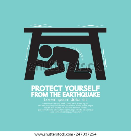 Protect Yourself From The Earthquake Vector Illustration - stock vector