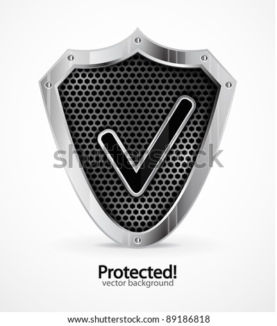 Protected background. Vector steel shield with check mark - stock vector