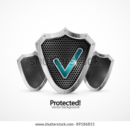 Protected background. Vector steel shield with check marks - stock vector