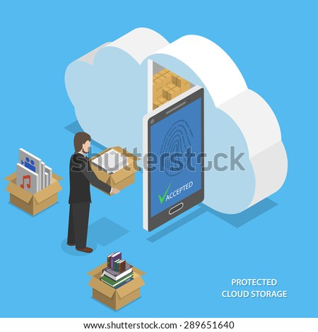 Protected cloud storage flat isometric vector concept. Man places his data to protected cloud storage via smartphone or tablet. - stock vector