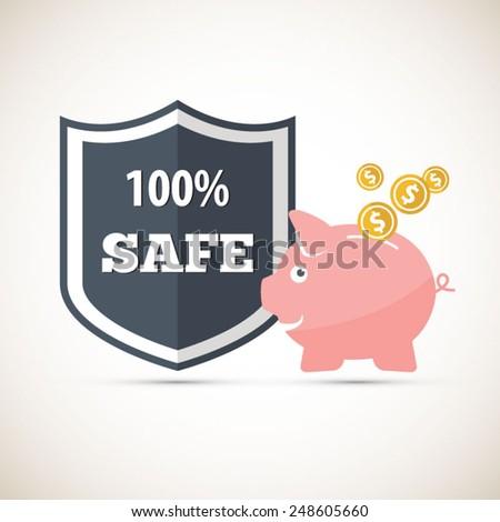Protected savings - Piggy bank - stock vector