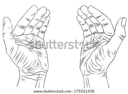 Protecting empty hands with place for some small object, detailed black and white lines vector illustration, hand drawn. - stock vector
