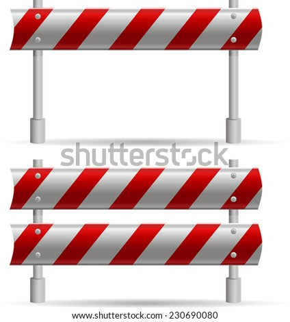 protecting road barrier with three steel plates and red strips - stock vector