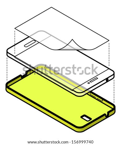 Protecting your cellular phone with a case and a screen protector. - stock vector