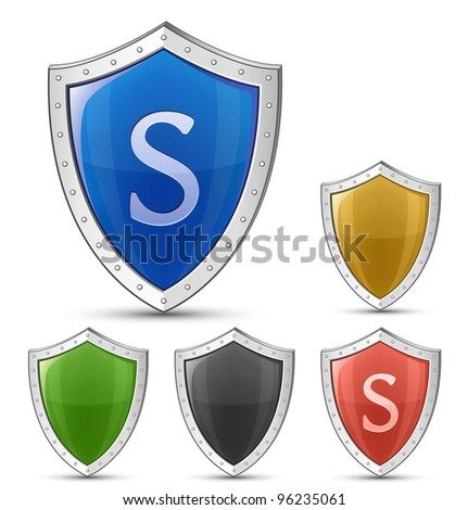 Protection concept. Vector illustration of glossy shield - stock vector