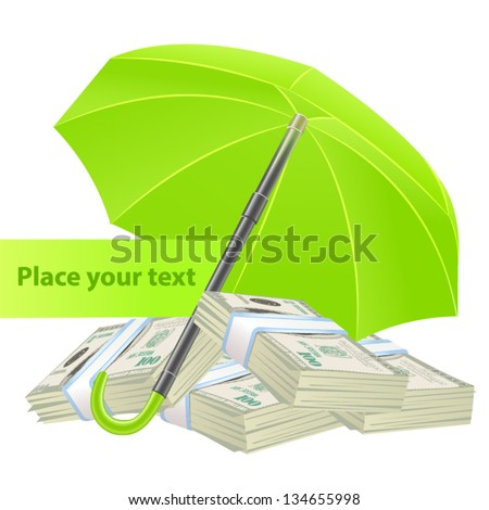 Protection concept with umbrella and money - stock vector