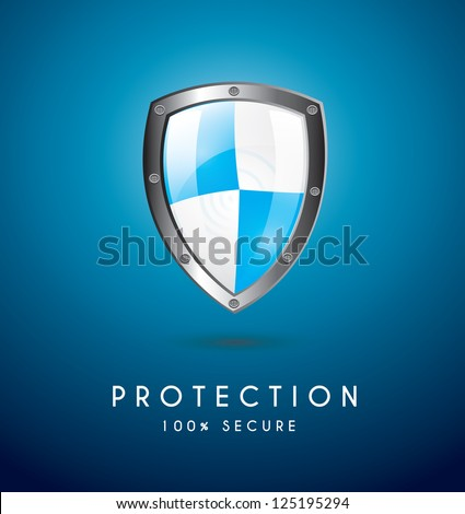 Protection icon over blue background vector illustration - stock vector