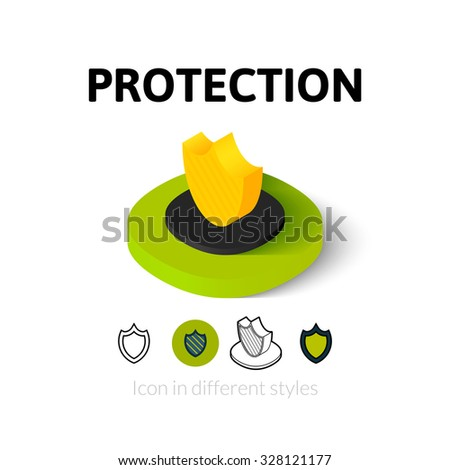 Protection icon, vector symbol in flat, outline and isometric style