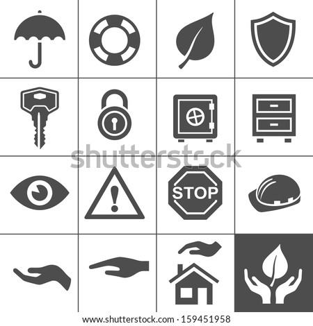 Protection icons. Simplus series. Vector Illustration - stock vector