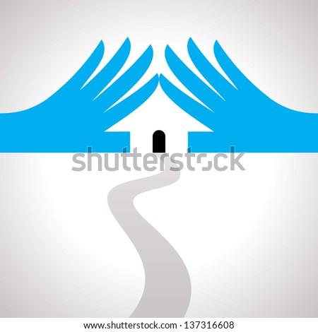 protection idea. concept of safe house - stock vector