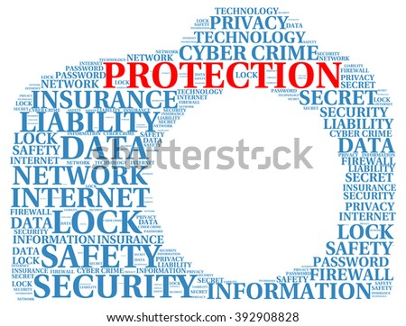 Protection info-text graphics and arrangement concept on white background (word cloud) - stock vector