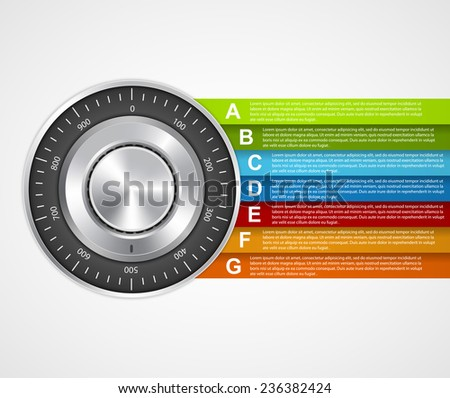 Protection information. Combination safe lock design concept infographics. - stock vector