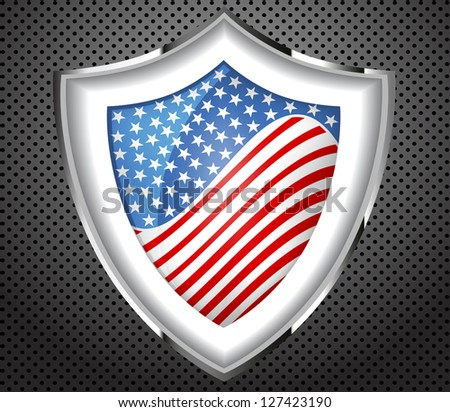 Protection metal shield USA flag.Vector - stock vector