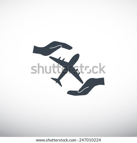 protection of air travel, insurance sign web icon. vector design - stock vector