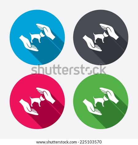 Protection of animals pets sign icon. hands protect dog symbol
