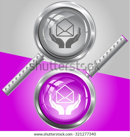 protection of mail. Vector magnifying glass. - stock vector