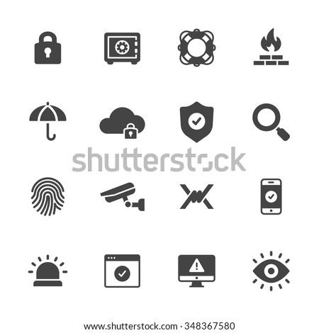 Protection, safety and security icons - stock vector