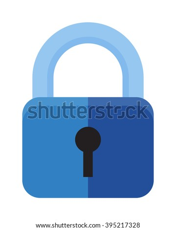 Protection security lock safety element and private shaped lock secure system. Flat lock with keyhole for safeguard. Vector illustration of security concept with locked blue combination pad flat lock. - stock vector