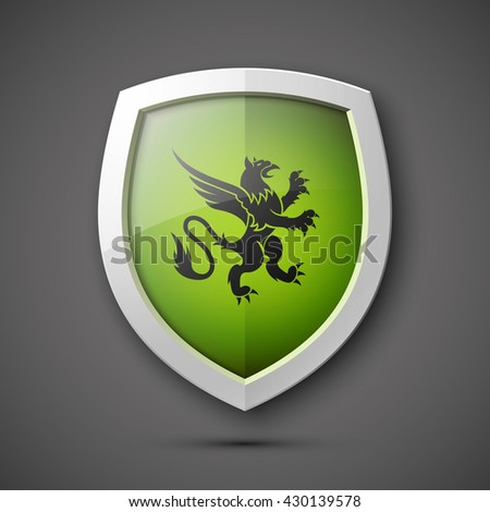 Protection shield Coat of arms Safety badge icon. Privacy banner. Security label. Defense tag. Presentation sticker shape. Defense sign. Vector illustration - stock vector