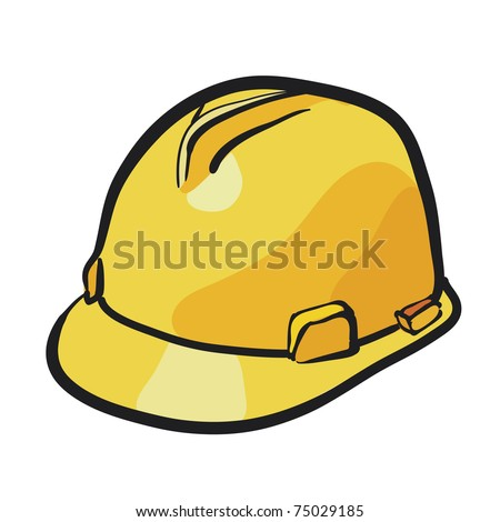 Protective helmet of yellow color. A headdress sketch - stock vector