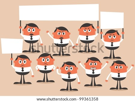 Protest: Conceptual illustration of a protest. No transparency and gradients used. - stock vector