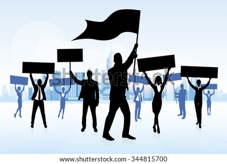 Protest People Crowd Silhouette, Man Holding Flag Banner Vector Illustration - stock vector