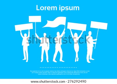 Protest People Silhouette, Men Holding Flag Banner Vector Illustration - stock vector