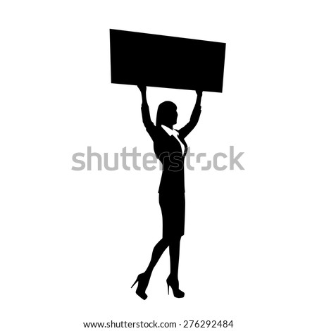 Protest Woman Silhouette, BusinessWoman Holding Banner Vector Illustration - stock vector