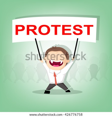 Protester lifting up protest signs, crowd of people protesters background, political, politic crisis poster, fists, revolution placard concept symbol flat style modern design vector illustration - stock vector