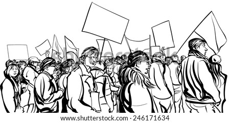 Protesters crowd walking in a demonstration - vector illustration - stock vector