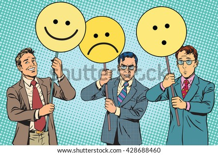 Protesters with placards Emoji joy sadness surprise - stock vector