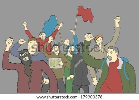 Protesting crowd make revolution - stock vector
