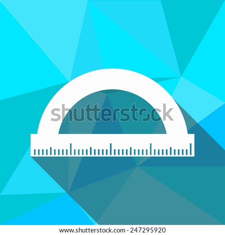Protractor icon. Flat design style modern vector illustration. Isolated on stylish color background. Flat long shadow icon. Elements in flat design. Geometric background - stock vector