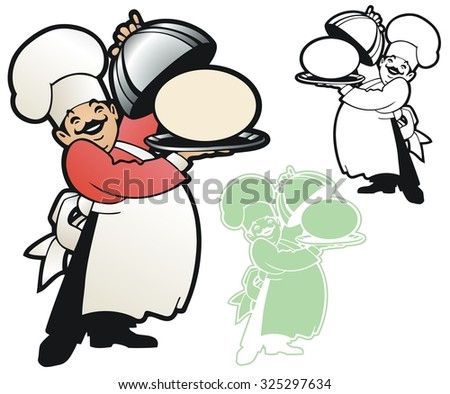 Proud chef takes the cover off a place to put your message or logo - stock vector