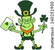 Proud Leprechaun celebrating Saint Patrick's Day while holding a glass of beer, a pipe and a shamrock clover - stock vector