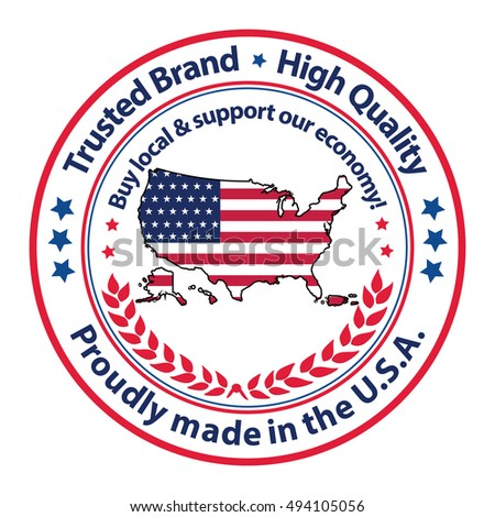 Proudly Made Usa Trusted Brand High Stock Vector 494105056