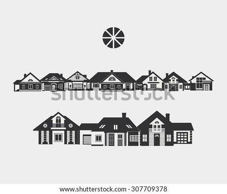 Provincial street. Border of silhouettes of different small houses. The architecture of a small town or in the countryside. - stock vector