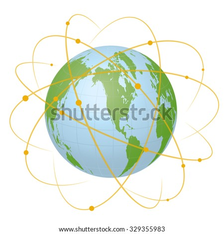 Pseudo Earth that contains the whole world map and Worldwide network, image illustration