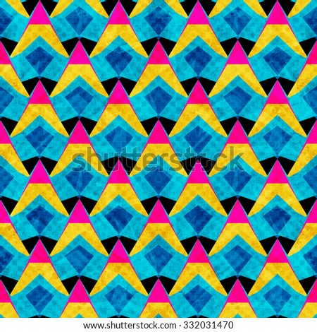 psychedelic abstract geometric background seamless vector pattern grunge effect - stock vector