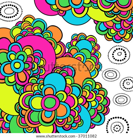 Psychedelic Abstract Groovy Doodles Vector Illustration - stock vector