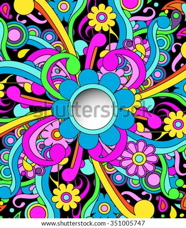 Psychedelic background with peephole cutout, eps10 vector