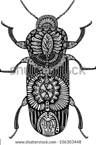 psychedelic bug - stock vector