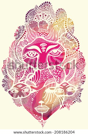 Psychedelic faces illustration - stock vector