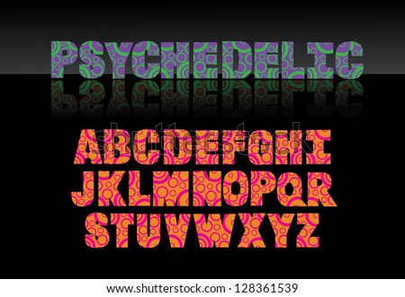 Psychedelic Font Alphabet A through Z EPS 8 vector, grouped for easy editing. No ope shapes or paths.