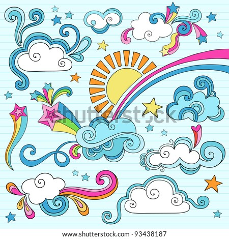 Psychedelic Groovy Clouds, Sun, and Rainbow Notebook Doodle Design Elements Set on Lined Sketchbook Paper Background- Hand Drawn Vector Illustration - stock vector